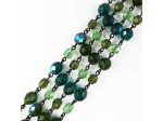 Czech Linked Rosary Chain, 8mm Green Fire Polished Mixed Shape Beads, Black Linked Chain, (Sold by the Meter)
