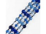 Czech Linked Rosary Chain, 8mm Sapphire Mix Fire Polished Beads, Black Linked Chain, (Sold by the Meter)