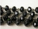 Czech Linked Rosary Chain, 9mm Jet Faceted Faceted Gemstone Rondel Beads, Black Linked Chain, (Sold by the Meter)