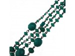 Czech Linked Rosary Chain, Fire Polished Mixed Shape Green Turquoise Beads, Black Linked Chain, (Sold by the Meter)