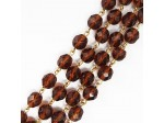 Czech Linked Rosary Chain, 4mm Smokey Topaz Fire Polished Round, Gold Linked Chain, (Sold by the Meter)
