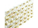 Czech Linked Rosary Chain, 6mm Clear Crystal AB Round Beads, Gold Linked Chain, (Sold by the Meter)