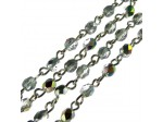Czech Linked Rosary Chain, 4mm Crystal Marea Faceted Beads, Old Silver Linked Chain, (Sold by the Meter)
