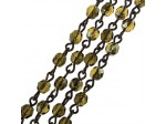 Czech Linked Rosary Chain, 4mm Amber Valentinite Faceted Beads, Old Silver Linked Chain, (Sold by the Meter)
