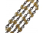 Czech Linked Rosary Chain, 4mm Smoked Topaz Luster Faceted Beads, Brass Linked Chain, (Sold by the Meter)