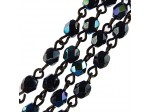 Czech Linked Rosary Chain, 4mm Hematite AB Faceted Beads, Brass Linked Chain, (Sold by the Meter)