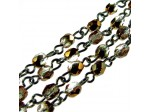 Czech Linked Rosary Chain, 4mm Light Rose Capri Faceted, Brass Link