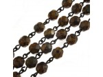 Czech Linked Rosary Chain, 6mm Opaque Light Orange Faceted Beads, Brass Linked Chain, (Sold by the Meter)