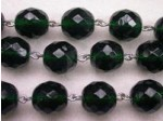 Czech Linked Rosary Chain, 12mm Emerald Fire Polished Faceted Beads, Silver Linked Chain, (Sold by the Meter)