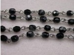 Czech Linked Rosary Chain, 4mm Jet Silver Coated Faceted Beads, Silver Linked Chain, (Sold by the Meter)