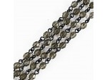 Czech Linked Rosary Chain, 4mm Black Diamond Faceted Beads, Silver Linked Chain, (Sold by the Meter)