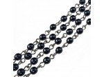 Czech Linked Rosary Chain, 4mm Hematite Pearls, Silver Linked Chain, (Sold by the Meter)