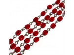 Czech Linked Rosary Chain, 4mm Ruby Faceted Beads, Silver Linked Chain, (Sold by the Meter)