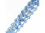 Czech Linked Rosary Chain, 6mm Light Sapphire Fire Polished Bead, Silver Linked Chain, (Sold by the Meter)