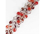 Czech Linked Rosary Chain, 6mm Red Two Tone Mix Fire Polished Bead, Silver Linked Chain, (Sold by the Meter)