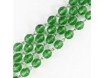 Czech Linked Rosary Chain, 8mm Peridot Fire Polished Bead, Silver Linked Chain, (Sold by the Meter)