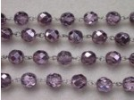 Czech Linked Rosary Chain, 8mm Mirror Violet Fire Polished Beads, Silver Linked Chain, (Sold by the Meter)