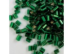"Czech Bugle Beads Square Hole, 0.5"" Emerald Silver Lined Loose, 0.5"""