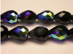 Czech Glass Fire Polished Drop Bead 13x10mm, Jet AB, (Pkg of 300 Pieces)