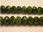 Czech Glass Fire Polished Gemstone Rondel Bead 9x6mm, Green Tiger Eye, 7'' Strand