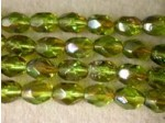 Czech Glass Fire Polished Oval Bead 7x5mm, Olivine Celsian Coated, (Pkg of 300 Pieces)