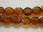 Czech Glass Fire Polished 2 Cut Bead 8mm, Topaz Bronze Edged, (Pkg of 300 Pieces)