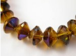 Czech Glass Fire Polished Spacer Rondel Bead 7x11mm, Amber Azuro Coated, (Pkg of 150 Pieces)