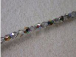 3mm Round Czech Glass Fire Polished Bead, Crystal Vitrail Coated