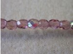 3mm Round Czech Glass Fire Polished Bead, Amethyst AB