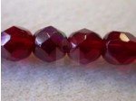 6mm Round Czech Glass Fire Polished Bead, Garnet AB