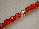 "Czech Glass Fire Polished Round Bead 8mm, Orange/Kelly, 7"" Strand"