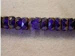 Czech Glass Fire Polished Rondel Spacer Bead 6x3mm,  Cobalt Zarit Coated, (Pkg of 300 Pieces)