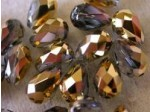 Preciosa Czech Crystal Pear Bead 9x6mm, Aurum Half