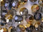 Preciosa Czech Round Crystal Bead 6mm, Aurum Half