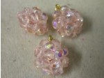 Czech Glass Fire Polished Ball Bead, Rose Pink AB Coated Gold Loop