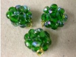 Czech Glass Fire Polished Ball Bead Emerald AB, Gold Loop