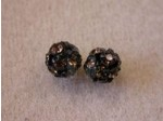 Czech Rhinestone Ball 6mm, Smokey Topaz in Black Setting