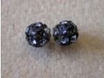 Czech Rhinestone Ball 6mm, Light Sapphire in Black Setting
