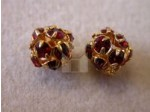 Czech Rhinestone Ball Ruby Gold