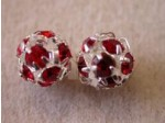 Czech Rhinestone Ball Ruby Silver