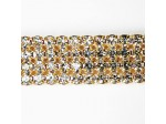 Czech Rhinestone Metal Banding, 4-Row Crystal in Gold Setting, ss19
