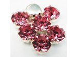 Czech Rhinestone Crystal Pointed Back Chaton Stone ss40 Light Rose In Silver Setting