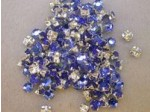 Czech Rhinestone Crystal Flatback Sew On Rosemontee, Extra Rose ss12, Sapphire In Silver Setting