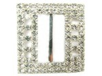 Czech Rhinestone Buckle Rectangle Crystal Silver