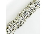 Czech Rhinestone Deep Shrag, 12mm Crystal in Silver Setting