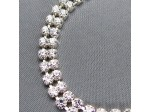 Czech Rhinestone Bracelet 2-Row Flat, Lobster Clasp with Extension Chain, ss12 Crystal in Silver Setting, 7""