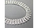 """Czech Rhinestone Bracelet 3-Row Flat, Lobster Clasp with Extension Chain, ss12 Crystal in Silver Setting, 6"""""""