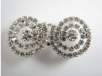 Czech Rhinestone Connector, Hook Circular, Crystal/Silver, 1 5/8""