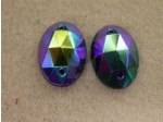 14mm Crystal Sew On Oval, Jet Black AB