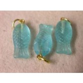 Czech Glass Fish Aqua Pendant Gold